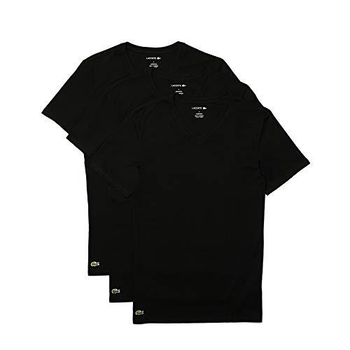 Lacoste Men's Essentials 3 Pack 100% Cotton Slim Fit V-Neck T-Shirts