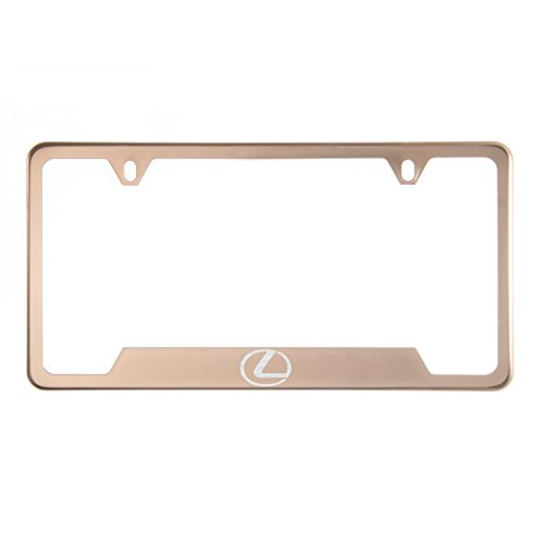 Circle Cool 1x Laser Etched Lexus Logo on Rose Gold Polish Bottom Cut Out Stainless Steel License Plate Frame Holder with Aluminum Screw - Etched Roses