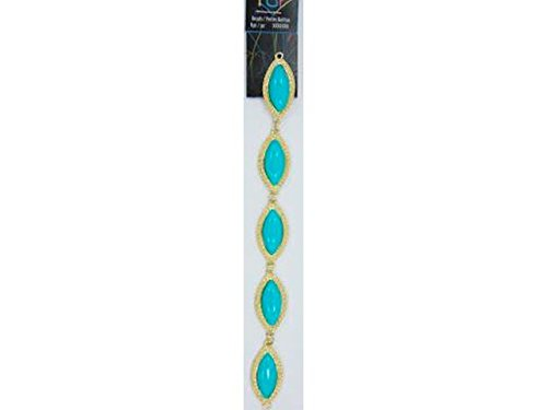 Cousin COU30214516 Oval Turquoise/Gold Connector Neon Pop Collection