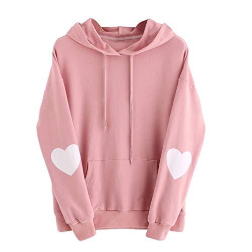 iYBUIA Womens Solid Long Sleeve Heart Hoodie Sweatshirt Jumper Hooded Pullover Tops Blouse(Pink,M)