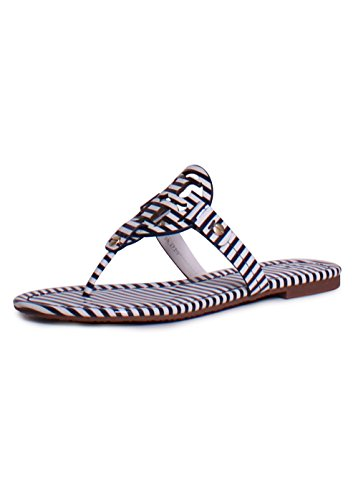 Tory Burch Miller Flip Flop Leather Thong Sandal Logo (8, Nautical Stripes Small - Burch Tory Buy