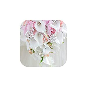 Vintage Western Style Wedding Bouquet for Brides Crystal Flowers Bridal Bouquets Artificial Hold,Pink 120