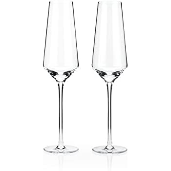 Raye Crystal Champagne Flutes by Viski – (8 oz., Set of 2) Rosé, Prosecco glasses