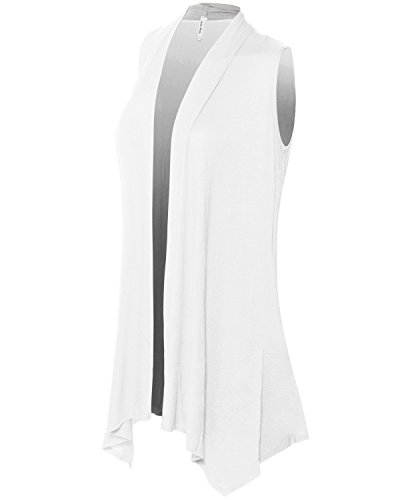 Instar Mode Women's Lightweight Sleeveless Draped Open Front Cardigan Vest Off-White L by Instar Mode