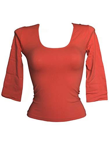 Sin 3 Mujer Camisetas Sensi' Cuello 4 Alto Salmone Mangas Costuras pXw0w