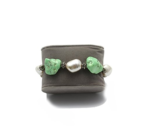 Light Green Magnesite Chunks and Baroque Pearls Bracelet -