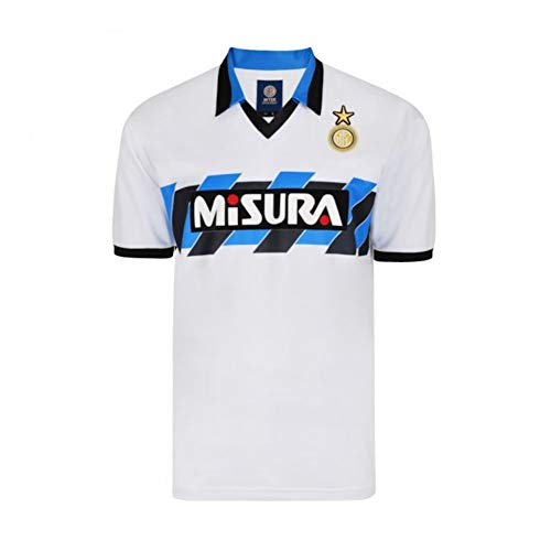 - Score Draw Mens 1990 Inter Milan Retro Away Football Shirt White L