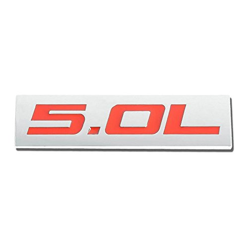 UrMarketOutlet 5.0L Red/Chrome Aluminum Alloy Auto Trunk Door Fender Bumper Badge Decal Emblem Adhesive Tape -