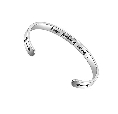 Inspirational Gifts Bracelet Cuff Bangle Women Mantra Quote Positive Saying Engraved Stainless Steel Silver Motivational Friendship Encouragement Jewelry for Teen Girls Kids Men with Hidden Message