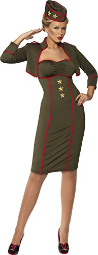 Smiffys Women's Army Girl Dress, Green/Red/Gold, Large -