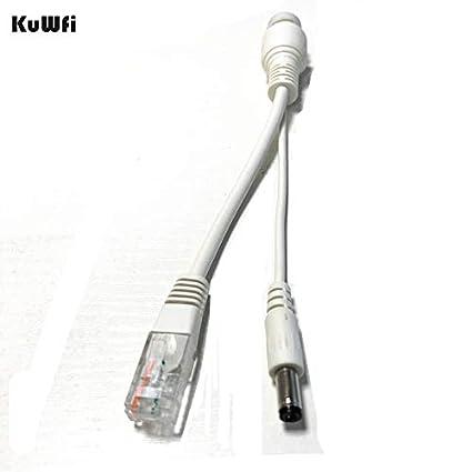 shinebear 2pcs kuwfi poe adapter cable rj45 injector splitter kit passive power  over ethernet 12v/