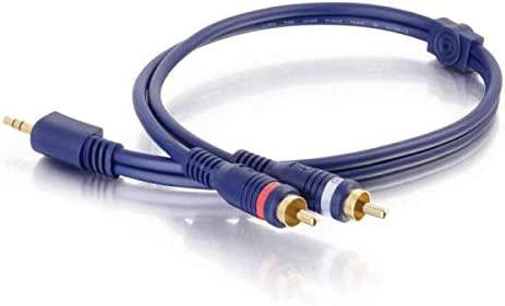 Blue C2G 40616 Velocity One 3.5mm Stereo Male to Two RCA Stereo Male Y-Cable 25 Feet, 7.62 Meters