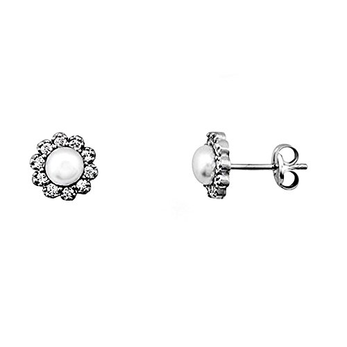 Boucled'oreille 18k blanc zircons centre or perle de culture [AA6157]