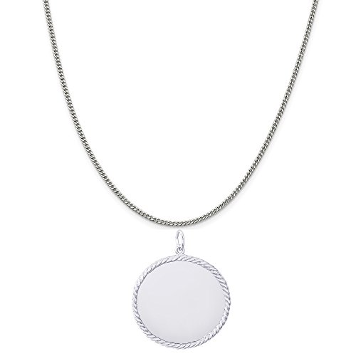 Rembrandt Charms Sterling Silver Large Round Rope Disc Charm on a Curb Chain Necklace, 16