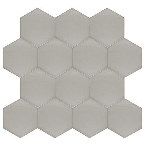 SomerTile FCD10STX Abrique Hex Porcelain Floor and Wall, 8.63'' x 9.88'', Silver Tile 8.625'' x 9.875'' 25 Piece by SOMERTILE (Image #10)