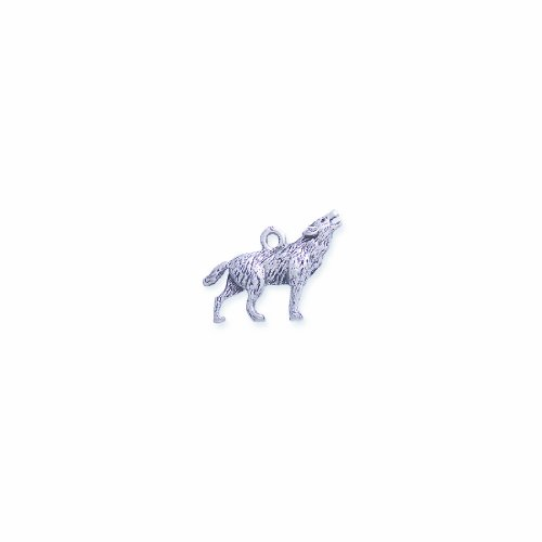 (Shipwreck Beads Pewter Coyote Wolf Charm, Silver, 20 by 24mm, 3-Piece)