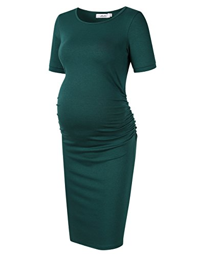 MissQee Ruched Maternity Dress Round Neck Maternity Dress 3/4 Sleeve Maternity Dresses (M, Green#)