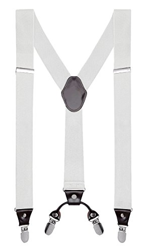"Buyless Fashion Mens 48'' Elastic Adjustable 1 1/4"" Suspenders In Y Shape"