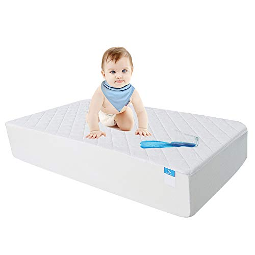 Crib Mattress Protector Waterproof Organic Bamboo Quilted Fitted Sheet with 28'' x 52'' Breathable Baby Mattress Cover Pad from Safe and Sound