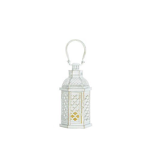 Home Decorative White Moroccan Lanterns Hanging Garden Tabletop Outside Lighting Decor Candle Holder Lamps Outdoor Vintage Camping Lights