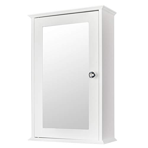 Bonnlo Bathroom Cabinet Wall Mount Mirrored Medicine Cabinet Storage Organizer with Single -
