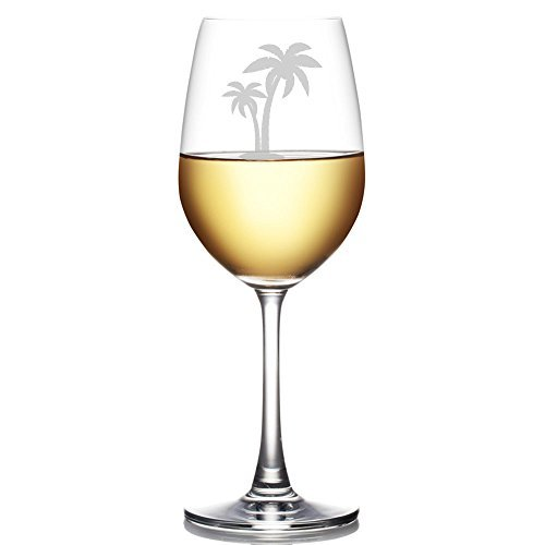 Palm Tree Engraved 11-ounce Wine Glass