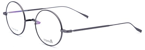 FONEX 100% Real Titanium Men Retro Women Round Optical Prescription Eyeglasses 9120 (grey, 44)