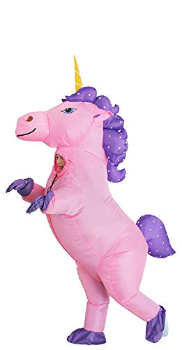 Inflatable Unicorn Costume Pony Horn Horse Suit for Halloween (Pink Medium)