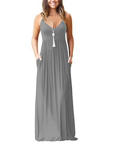 Chic-Lover Women's Summer Sleeveless Loose Plain Maxi Dress Casual Flowy Vacation Long Dresses with Pockets (Gray, M)