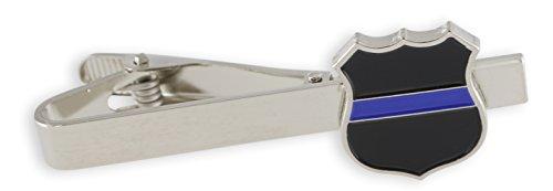 Forge Police Blue Line Decal Shield Tie Bar + Cufflinks (Silver Tie ()