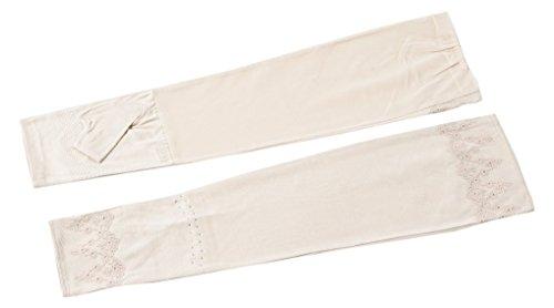 レビュー伝導率偶然ELLE(エル) 接触冷感 セミロング タイプ 花柄レース 付 UV手袋 ケース付 (M(20~21cm), ベージュ)