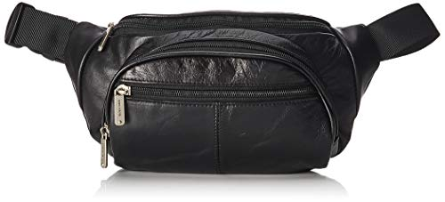 Travelon Leather Waist-Pack with Organizer, Black, One Size