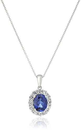 Sterling Silver, Created Blue Sapphire, and Created White Sapphire Pendant Necklace, 18""