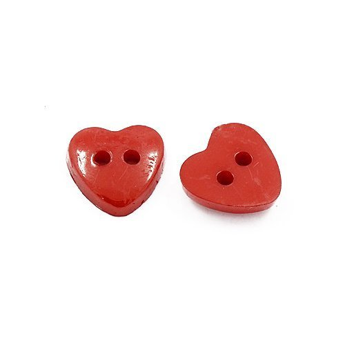 Pack of 50+ Red Acrylic 12mm Heart Buttons (2 Hole) - (HA07205) - Charming Beads