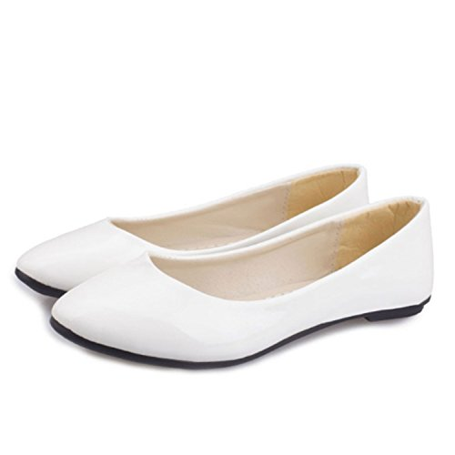 UK Nonbrand White Women's Ballerinas Heel 0 ZnZqzHYR