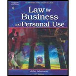 Law for Business and Personal Use, Adamson, John E., 0538436247