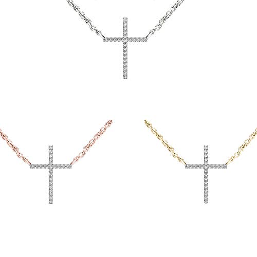 IGI Certified 10K White Gold 1/10ct TDW Diamond Cross Necklace (I-J, I2) ()