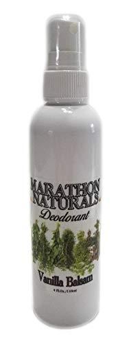 Marathon Naturals Deodorant - Aluminum Free - Alum Free - No Baking Soda - No Parabens - Long Lasting - Organic, Non-GMO Shea Butter - Natural Essential Oils - Spray Mist - 4oz. (VANILLA BALSAM) ()