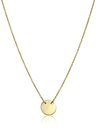 14k Yellow Gold Italian Small Round Disc Engravable Adjustable Pendant Necklace, 17