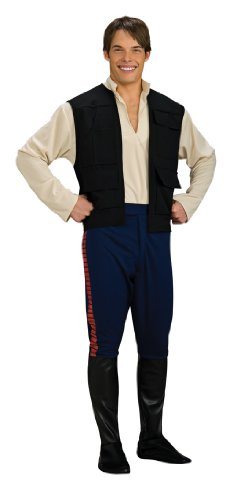 Adult China Man Costumes (Star Wars Deluxe Hans Solo Costume, Black/Blue, Standard)