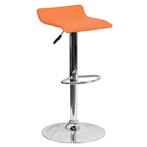 Contemporary Vinyl Adjustable Height Bar Stool, Orange
