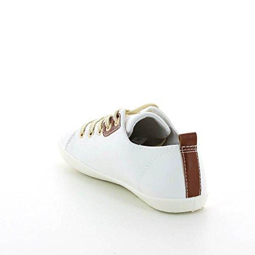 Zapatillas bajas piel sintética, cierre con cordones. Blanco - blanco