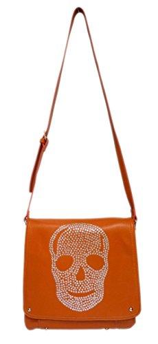 Slouch Punk Orange Style Shoulder New Leather Zipper Diamante Retro Bag Skull Ladies Faux Vintage qTPg7PwtAx