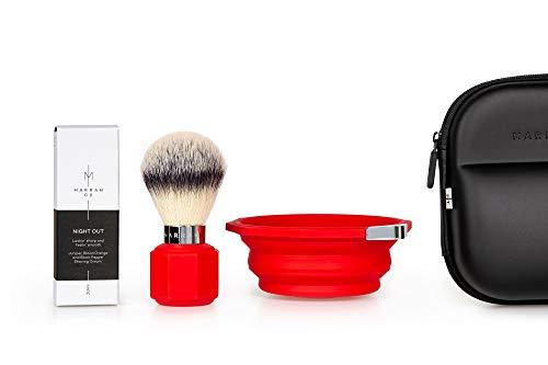 Travel Shaving Brush, Shaving Bowl, and Shaving Cream (Red)