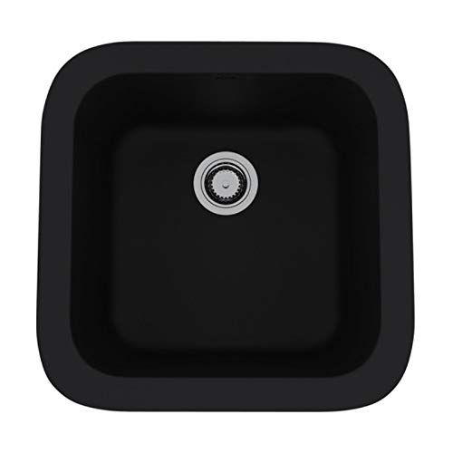 Rohl 5927-63 FIRECLAY KITCHEN SINKS, 17-7/8-Inch W by 17-1/2-Inch D by 9-Inch H, Matte Black (63)