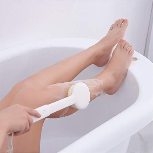 Guoshang Adjustable Long Handle Bath Brush Soft Hair Body Back Scrubber Shower Bristle for Family Bathroom Tub,White