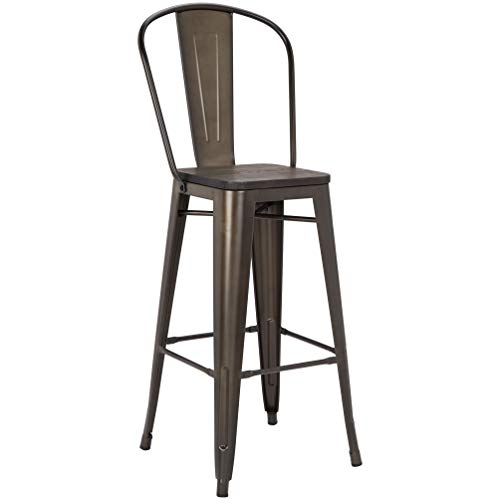 Pioneer Square Midvale 30-Inch Bar-Height Metal Stool with Back Rest, Set of 2, Stormy Gray