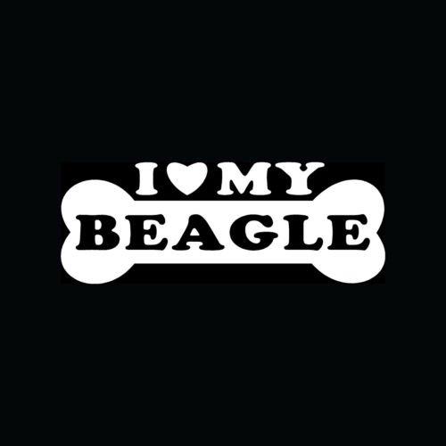 I LOVE MY BEAGLE Dog Bone Sticker Puppy - Beagle Sticker For Car
