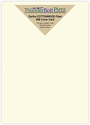 100 Earthy Cottonwood Fiber Cover Paper Sheets - 5 X 7 (5X7 Inches) Photo|Card|Frame Size - 80 lb/pound Card Weight - Cream White Color with Natural Fibers - Smooth Finish