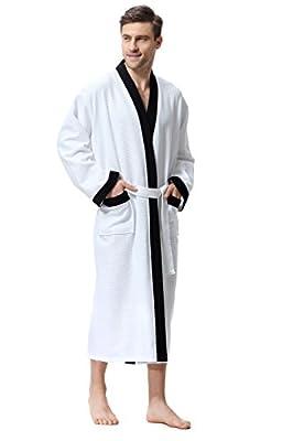 OUFANG Men's Robe - White/Black Kimono Waffle Spa Bathrobe, Over Knee Length Unisex